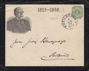 Württemberg PU 6 mit Trauerrand zum Tod von Otto von Bismarck HEILBRONN 4.8.1898