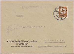 Orts-Drucksache Akademie der Wissenschaften in GÖTTINGEN 23.11.43 nach Hannover