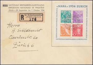 Schweiz Block 1 NABA 1934 Schmuck-R-Brief Sonder-R-Zettel SSt Zürich 30.9.1934