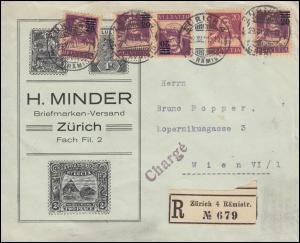 Schweiz-Brief mit K 15 Tell und Zusatzfr. R-Brief ZÜRICH 29.12.1921 nach Wien