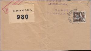 Völkerbund (SDN) 40 Abrüstungskonferenz 60 Rp auf Briefstück GENF 6.10.1935