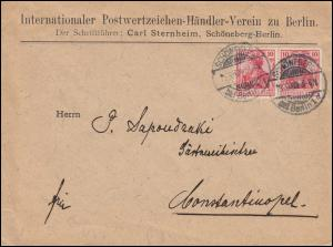 86I Germania MeF Auslandsbrief Briefmarkenhändler zu Berlin SCHÖNEBERG 16.10.08