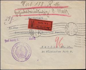 Frei durch Ablösung Reich Auswärtiges Amt Wert-Brief BERLIN 28.1.1929 Orts-Brief