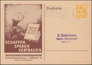 4 AM-Post EF auf Schmuck-Postkarte Banksparbuch BERLIN-CHARLOTTENBURG 11.9.1946