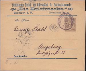 Württemberg PS 2 Streifband-Drucksache Die Briefmarke ESSLINGEN-BAHNHOF 23.11.96