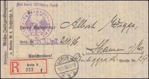 Frei laut Ablösung Reichsjustizprüfungsamt R-Brief BERLIN 13.2.1936 nach Hamm