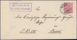 4 Dienst Frei laut Avers No. 21 Kgl. Preuß. Staatsarchiv Brief MARBURG 1.4.1903