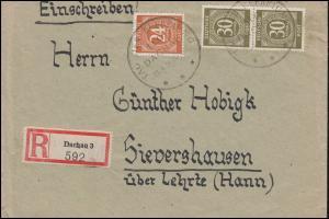 925+928 Ziffer MiF auf R-Brief SSt TAG DER BEFREIUNG DACHAU 29.4.1945-46