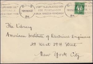Norwegen: 7 Freimarke Brief Werbestempel OSLO Nansen-Flüchtlingshilfe 14.11.1938