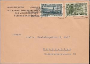 182+183 Aufdruckmarken Brief Volksabstimmungskommission SAARBRÜCKEN 13.1.1935