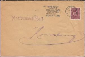 60 Dienst Spendet für das Oberschlesische Hilfswerk Brief MANNHEIM 24.9.1921