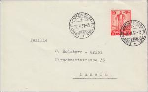 295 Pro Patria EF auf Brief SSt BERN Kongress Therapeutische Union 19.5.1937