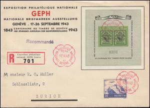 Schweiz Block 10 GEPH Briefmarkenausstellung auf Schmuck-FDC GENF 17.9.1943