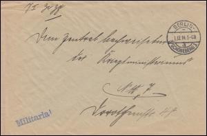 Feldpost Militaria Kön. Preuss. Militäkommandantur BERLIN-SCHÖNEBERG 1.12.1914
