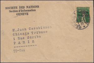 Völkerbund (SDN) 30x Tellknabe als EF auf Streifband 23.6.1930 nach Paris