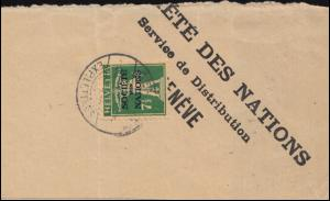 Völkerbund (SDN) 30x Tellknabe auf Briefstück GENF 30.9.1929