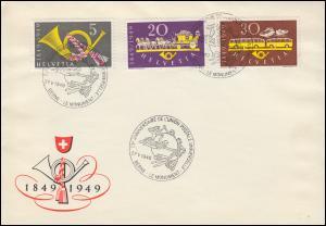 Schweiz 519-521 Eidgenössische Post, Satz auf Schmuck-Brief SSt BERN 27.5.1949