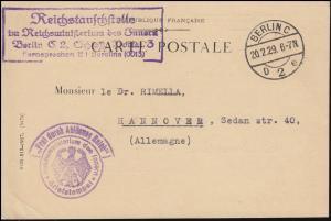 Frei durch Ablösung Reichsinnenministerium Reichsstauschstelle BERLIN 20.2.1929