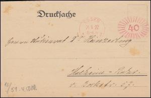 AFS ESSEN 21.1.1922 auf Drucksache Einladung zum Vortrag Eisenforschung