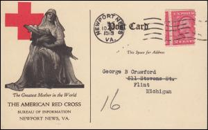 Rotes Kreuz Postkarte THE AMERICAN RED CROSS, NEWPORT NEWS 10.6.1919