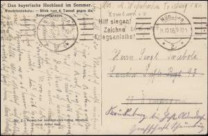 Ansichtskarte Bayern: Blick zur Rotwandgruppe, Feldpostkarte MÜNCHEN 8.10.1918