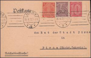 Reichsdienstsache 24+25+30 Dienstmarken auf Postkarte BERLIN 28.6.1922