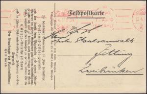 Freistempel FRIEDRICHSHAFEN 3 Pf. FRANCO BEZAHLT - 13.4.1915 auf Propaganda-AK