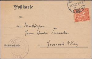 20 Dienst EF Postkarte Reichsarbeitsministerium BERLIN 21.10.20 n. Gernrode/Harz