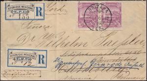 Mexiko-Brief Sonder-R-Zettel UPU von ORIZABA 7.7.1895 über USA nach Dreutschland