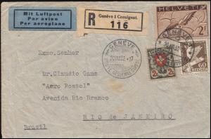 Schweiz Wappenschild + 245 Brieftaube + 254 Abrüstung R-Brief GENF 20.8.32