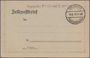 Blanko-Feldpost-Kartenbrief Stempel Deutsche Friedensdelegation 19.6.1919 mit BS