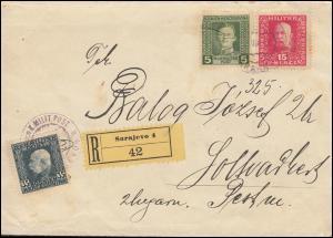 Bosnien-Herzegowina MILITÄRPOST 74+104+125 Freimarken R-Bf. SARAJEVO August 1917