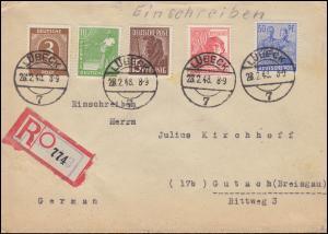 913ff Kontrollrat I+II MiF auf R-Brief Not-R-Zettel LÜBECK 28.2.1948 nach Gutach