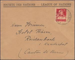 Schweiz 206x Tell mit Armbrust als EF auf Brief GENF Völkerbund 24.6.1926