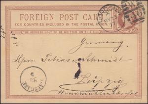 Großbritannien Postkarte P 4 Königin Viktoria DUP LONDON W 94 X - 23.5.1877