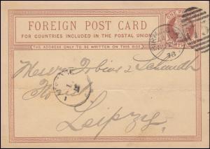 Großbritannien Postkarte P 4 Königin Viktoria DUP BIRMINGHAM 75 28.11.1878