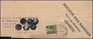 Völkerbund (SDN) 29 Tellknabe in GRÜNOLIV auf Briefausschnitt GENF 1.5.1934