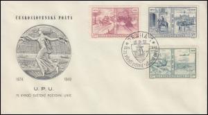 572-574 Weltpostverein-Satz auf Schmuck-FDC PRAHA 75 Jahre UPU 20.5.1949
