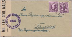 Zensur MILITARY CENSORSHIP 15617 mit 12 Pf. AM-Post MeF GÖTTINGEN-LAND 6.3.1946