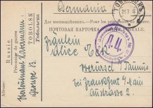 Kriegsgefangenpost 1. Weltkrieg russische Postkarte TOBOLSK 26.3.16 russ. Zensur