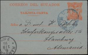 Ecuador Kartenbrief 10 Centavos orange U.P.U. GUAYAQUIL nach HAMBURG 1.8.1893