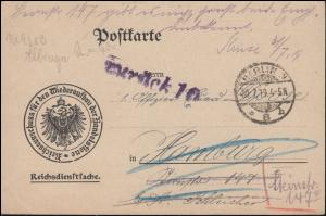 Reichsdienstsache Reichsausschuss Wiederaufbau der Handelsflotte, BERLIN 30.7.19