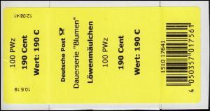 3474 Löwenmäulchen 190 Cent + CF Banderole / Aufkleber