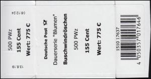 3472 Buschwindröschen 155 Cent + CF Banderole / Aufkleber für 500 Stück