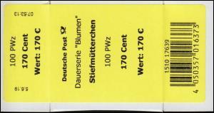 3473 Stiefmütterchen 170 Cent + CF Banderole / Aufkleber