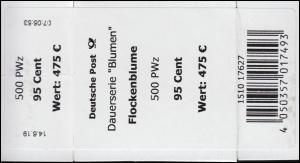 3470 Flockenblume 95 Cent + CF Banderole / Aufkleber für 500 Stück
