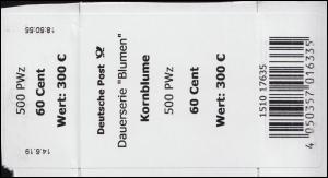 3468 Kornblume 60 Cent + CF Banderole / Aufkleber für 500 Stück