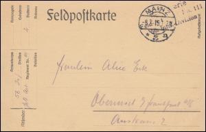 Feldpost BS Feld-Artillerie-Regiment 111 auf PK MAINZ 8.7.1915 nach Oberursel