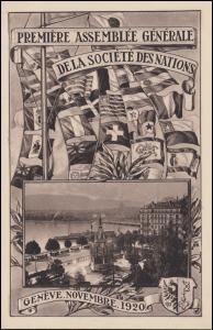 Schweiz AK 1. Generalversammlung des Völkerbundes Genf 1920 - Nr. 2, ungebraucht