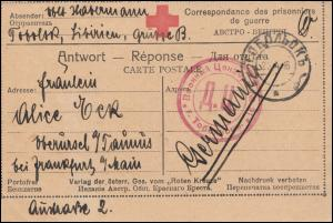 Kriegsgefangenenpost 1. Weltkrieg Karte Rotes Kreuz TOBOLSK 3.10.15 russ. Zensur